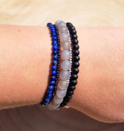 Stoere wikkelarmband met Grijze Agaat, Onyx en Lapis Lazuli