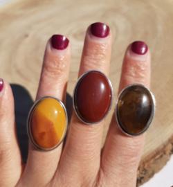 Ringen met natuursteen - Mookaite Jaspis, Rode Jaspis en Tijgeroog