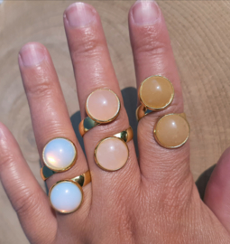 Ringen met dubbele stenen - Opaliet, Rozenkwarts, Gele Aventurijn - NIEUW!