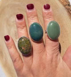 Ringen met natuursteen - Aventurijn, Mosagaat en Unakiet