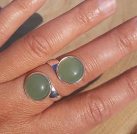 Ringen met dubbele stenen - Groene Aventurijn - NIEUW!