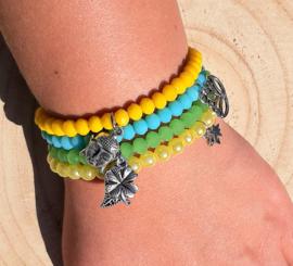 Setje vrolijke armbandjes - groen en geel