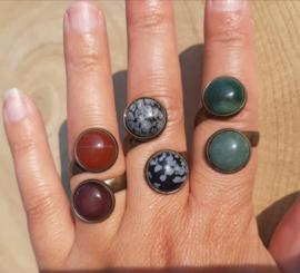 Ringen met dubbele stenen - Carneool, Sneeuwvlokobsidiaan, India Agaat - NIEUW!