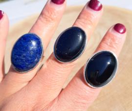 Ringen met natuursteen - Lapis Lazuli, Blauwe Goudsteen en Onyx