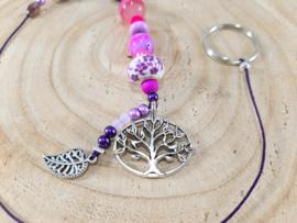 Tree of life - levensboom - gelukshanger met roze en paarse kralen