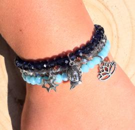 Setje vrolijke armbandjes - blauw/grijs
