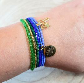 Fijne armbandjes in groen, blauw en goud
