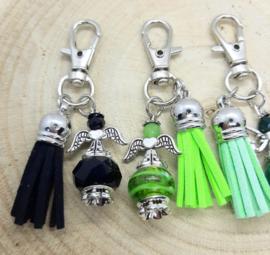 Sleutelhanger beschermengeltje groen - zwart