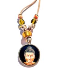 Ketting met Boeddha hanger - bruin/beige