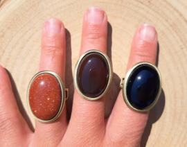 Ringen natuursteen - Goudsteen, Koffie Agaat, Onyx - bronskleurig