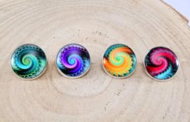 Setje 4 spelden fractal medium 'kleurig'