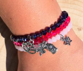 Setje vrolijke armbandjes - roze en paars