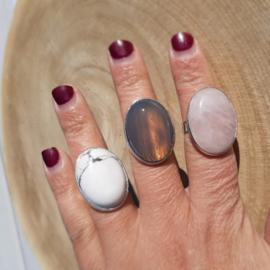 Ringen natuursteen - Howliet, Grijze Agaat en Rozenkwarts