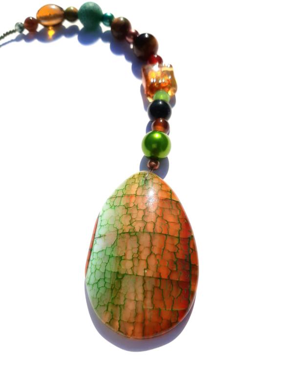 Raamhanger met agaat en Dzi kraal - groen/bruin