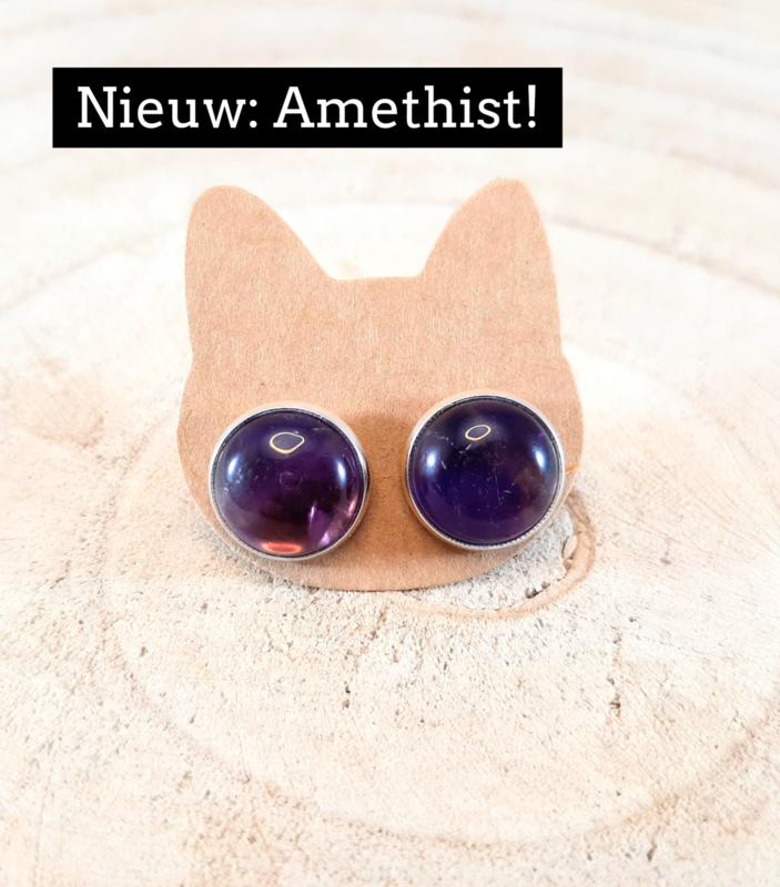 Oorbellen met natuursteen - Amethist