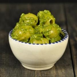 Groene olijven met pesto Kwaqmolle