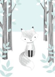 Kaart | fox in the woods mint | Little Vanilla