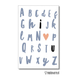 Minikaart | ABC  I love u | MIEKinvorm