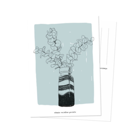 Kaart | vaas met eucalyptus | Studio Rainbow Prints