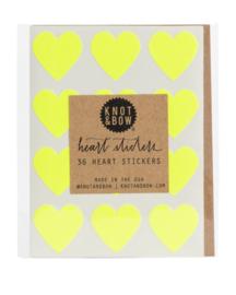 Hartstickers | neon geel | Knot & Bow
