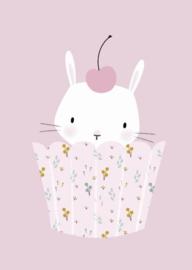 Kaart | bunny cupcake pink | Little Vanilla