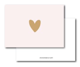 Minikaart   gouden hart op roze   Stationery & Gift