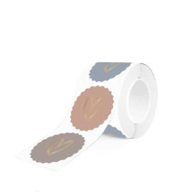 Stickers | hart goudfolie op roze-blauw-grijs | HOP.
