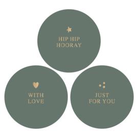 Stickers | grijs-groen/goudfolie | HOP.