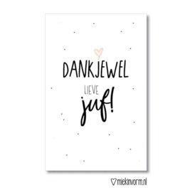 Minikaart | Dankjewel lieve juf! | MIEKinvorm