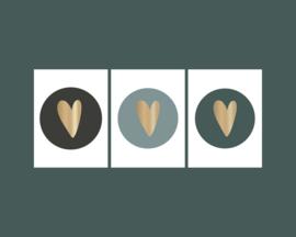 Stickers | hart goudfolie mix zwart-grijs-petrol | HOP.