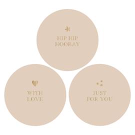 Stickers | beige / tekst goudfolie | HOP.