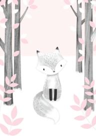 Kaart | fox in the woods pink | Little Vanilla