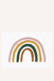Bloeikaart | Regenboog - roze/oker/groen/bruin | Kekootje