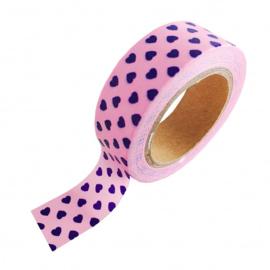 Washi tape | roze met blauw hartje | Studio Stationery