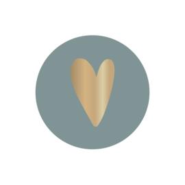 Sticker | hart goudfolie op groen/blauw | HOP.
