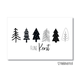 Minikaart | Fijne Kerst zwart/wit | MIEKinvorm