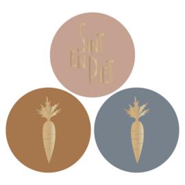 Stickers | Sint&Piet en wortels in cognac en grijsblauw | HOP.