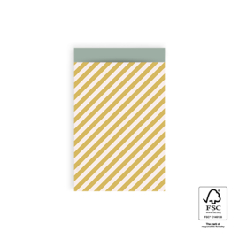 Cadeauzakje | stripe diagonal yellow | HOP.