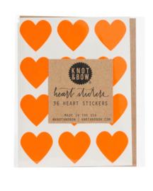 Hartstickers | neon oranje | Knot & Bow