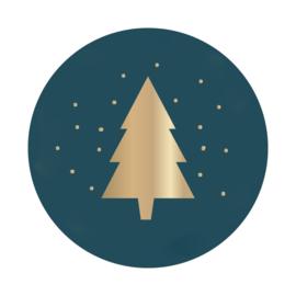 Sticker | groen met goudfolie kerstboom | HOP.
