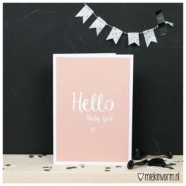 Dubbele kaart | Hello baby girl | MIEKinvorm