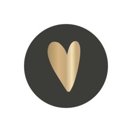 Sticker | hart goudfolie op zwart | HOP.