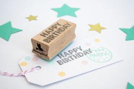 Stempel rechthoek   Happy Birthday   Miss Honeybird