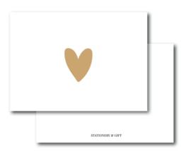 Minikaart | Hart in goud op wit | Stationery & Gift