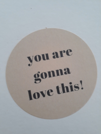 Sticker | You are gonna love this! | beige met grijs