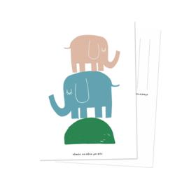 Kaart | Twee olifanten | Studio Rainbow Prints