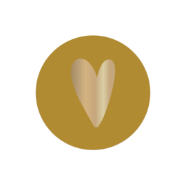 Sticker | hart goudfolie okergeel | HOP.