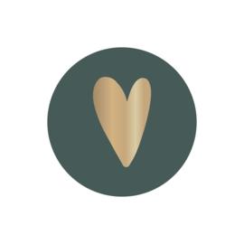 Sticker | hart goudfolie op petrol | HOP.