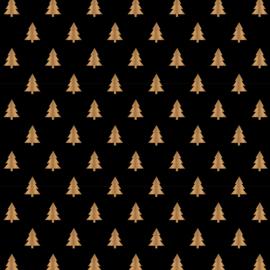 Cadeaupapier | zwart met goudfolie kerstboom | HOP.