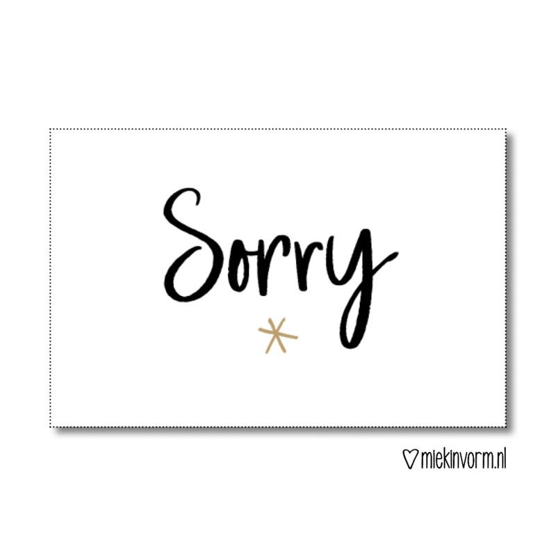 Cadeaulabel   Sorry   MIEKinvorm